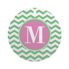 Any Letter, Pink and Green Chevro Ornament (Round)