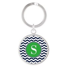 Any Letter, Navy Blue and Green Che Round Keychain
