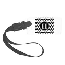 Any Letter, Black and White Chev Luggage Tag