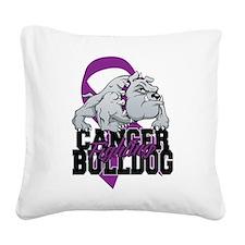Pancreatic Cancer Bulldog Square Canvas Pillow