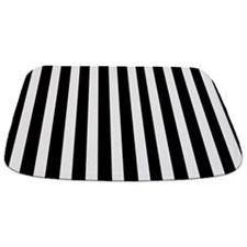 Black And White Striped Bathmat