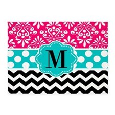 Pink Teal Black Chevron Dots Personalized 5'x7'Are