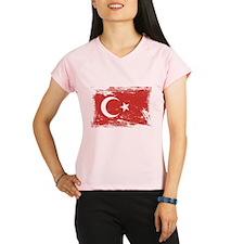 Grunge Turkey Flag Performance Dry T-Shirt