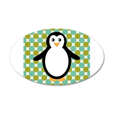 Penguin on Blue and Green Wall Decal