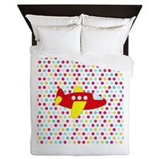 Red and Yellow Airplane on Dots Queen Duvet