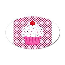 Cupcake on Pink and Black Polka Dots Wall Decal