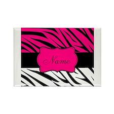 Pink Black Zebra Personalized Magnets
