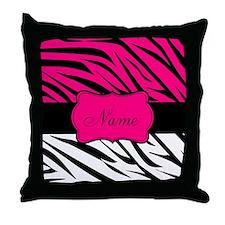 Pink Black Zebra Personalized Throw Pillow