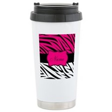 Pink Black Zebra Personalized Travel Mug