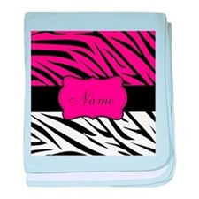 Pink Black Zebra Personalized baby blanket