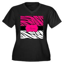 Pink Black Zebra Personalized Plus Size T-Shirt