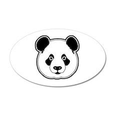 panda head white black 20x12 Oval Wall Decal