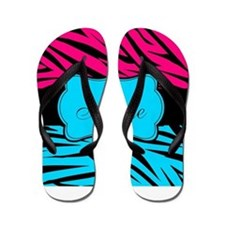 Personalizable Hot Pink and Teal Flip Flops