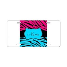 Personalizable Hot Pink and Teal Aluminum License