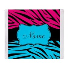 Personalizable Hot Pink and Teal Throw Blanket