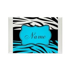 Personalizable Teal and Black Zebra Magnets