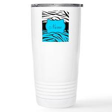 Personalizable Teal and Black Zebra Travel Mug