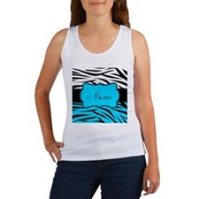 Personalizable Teal and Black Zebra Tank Top