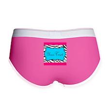 Personalizable Teal Hot Pink Zebra Women's Boy Bri