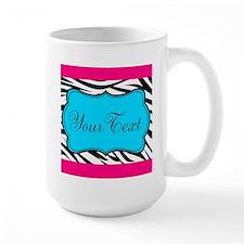 Personalizable Teal Hot Pink Zebra Mugs