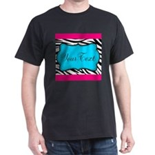 Personalizable Teal Hot Pink Zebra T-Shirt