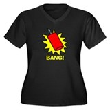 Bang Firecracker Women's Plus Size V-Neck Dark T-S