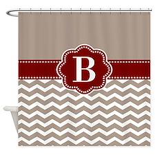 Taupe Dark Red Chevron Monogram Shower Curtain