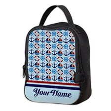 Sailor Nautical Monogram Neoprene Lunch Bag