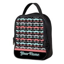 Funny Mustache Pattern Personal Neoprene Lunch Bag