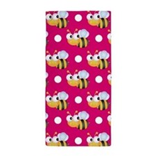 Cute Bee, Hot Pink White Polka Dots Beach Towel