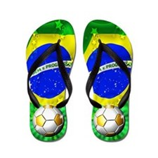 Brazil Flag Gold Green and Soccer Ball Flip Flops