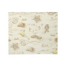 Vintage Summer Beach Pattern Throw Blanket
