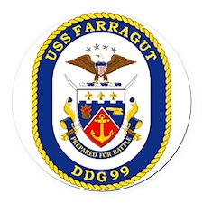 DDG 99 USS Farragut Round Car Magnet