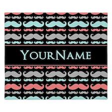 Monogram Girly Mustache Chic King Duvet