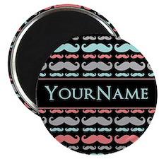 Monogram Girly Mustache Chic Magnet