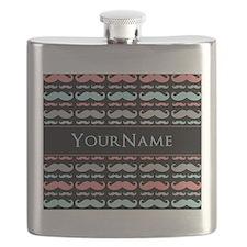 Monogram Girly Mustache Chic Flask