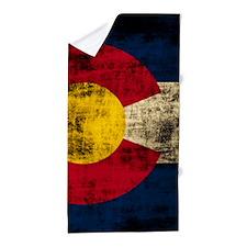 Grunge Colorado Flag Beach Towel