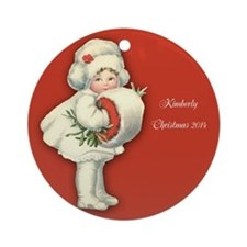 Personalized Victorian Girl With Ornament (round)