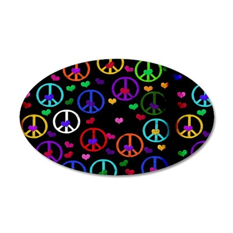 Rainbow Peace and Hearts 35x21 Oval Wall Decal