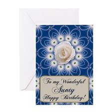 A birthday card for your aunt with a white rose an