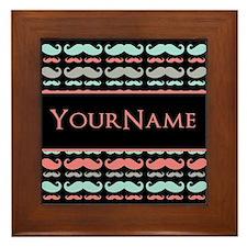 Cute Mustache Monogram Framed Tile