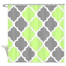 Gray and lime quatrefoil pattern Shower Curtain