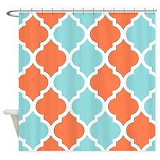 Coral orange and light blue quatrefoil pattern Sho