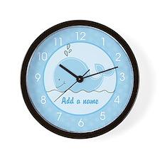 Little Blue Whale Wall Clock - Add A Name