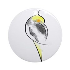 Pied Cockatiel Ornament (Round)