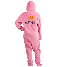 I Love Softball Footed Pajamas