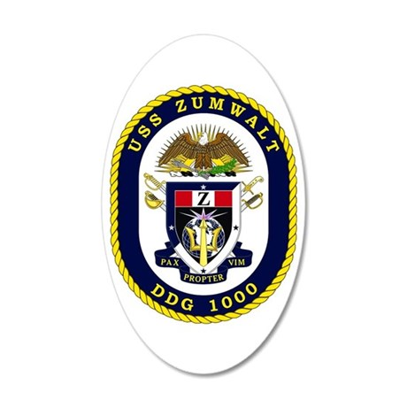 USS Zumwalt DDG 1000 20x12 Oval Wall Decal