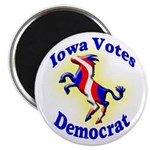 Iowa Votes Democrat Round Magnet