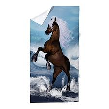 Beautiful horse with white mane Beach Towel