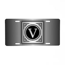 Deco Monogram V Aluminum License Plate